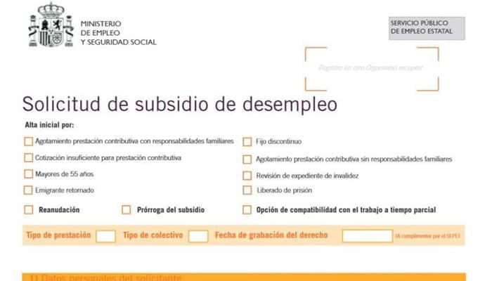 Modelo de solicitud de subsidios de desempleo