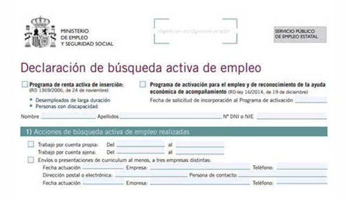 Formulario, Declaración de búsqueda activa de empleo