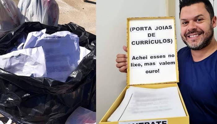 hombre brasileño se encuentra cv en la basura y los entrega